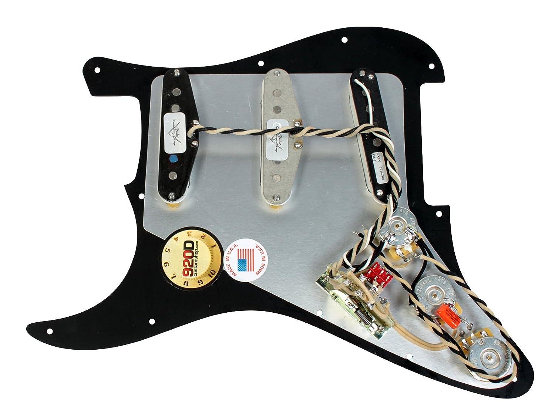 Amazon.com: 920D Custom Loaded Strat Pickguard Duncan Fender BK/WH SSL-5,  '69, Fat 50's: Musical Instruments