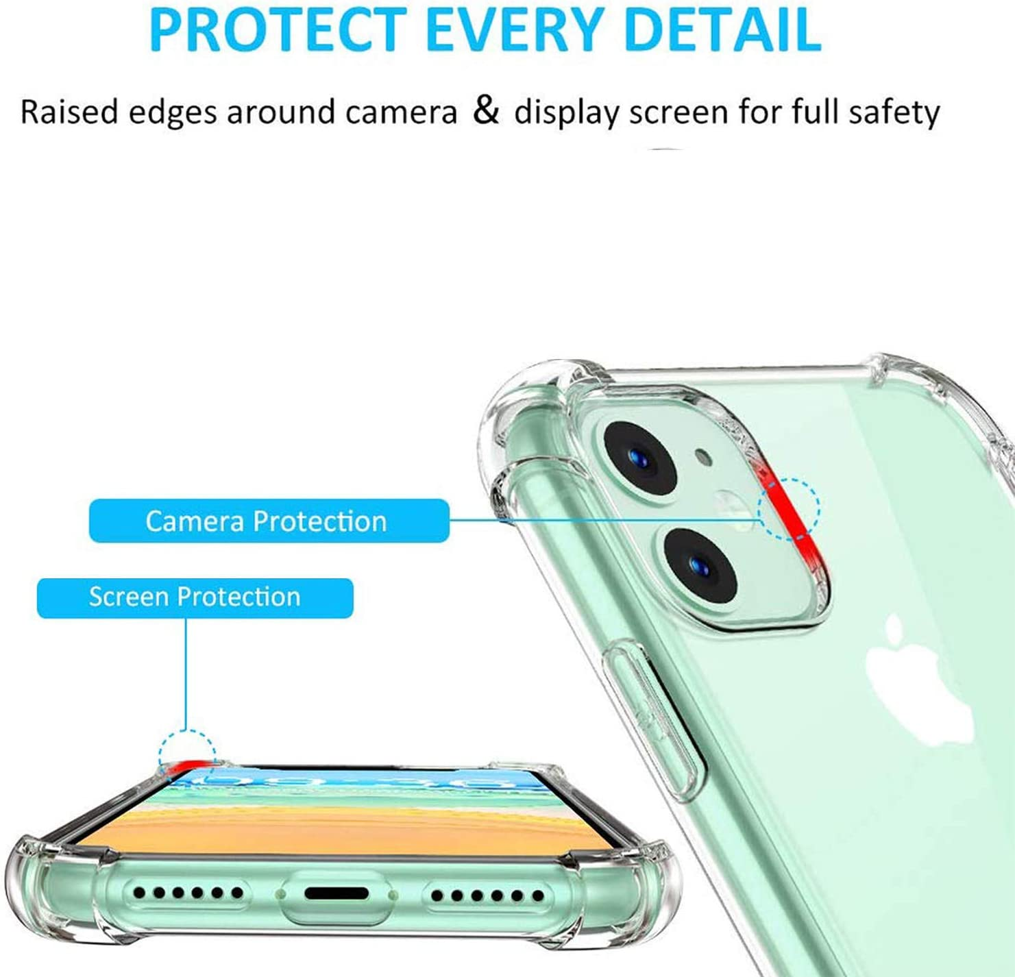 Clear iPhone 11 Case Cavie Brands iPhone 11 Clear Case with 2 Screen Protectors Compatible with Apple iPhone 11 Maximum Shock Absorption Protection