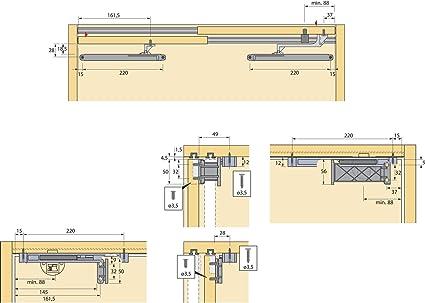 gedotec – Herraje para para armario Sistema de puerta corredera puerta para puerta de madera caballete rollo para puerta corredera | Slide Line – 55, soporta hasta 15 kg, 1 pieza: Amazon.es: Bricolaje y herramientas