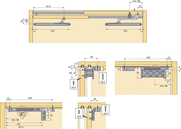 gedotec – Herraje para para armario Sistema de puerta corredera ...