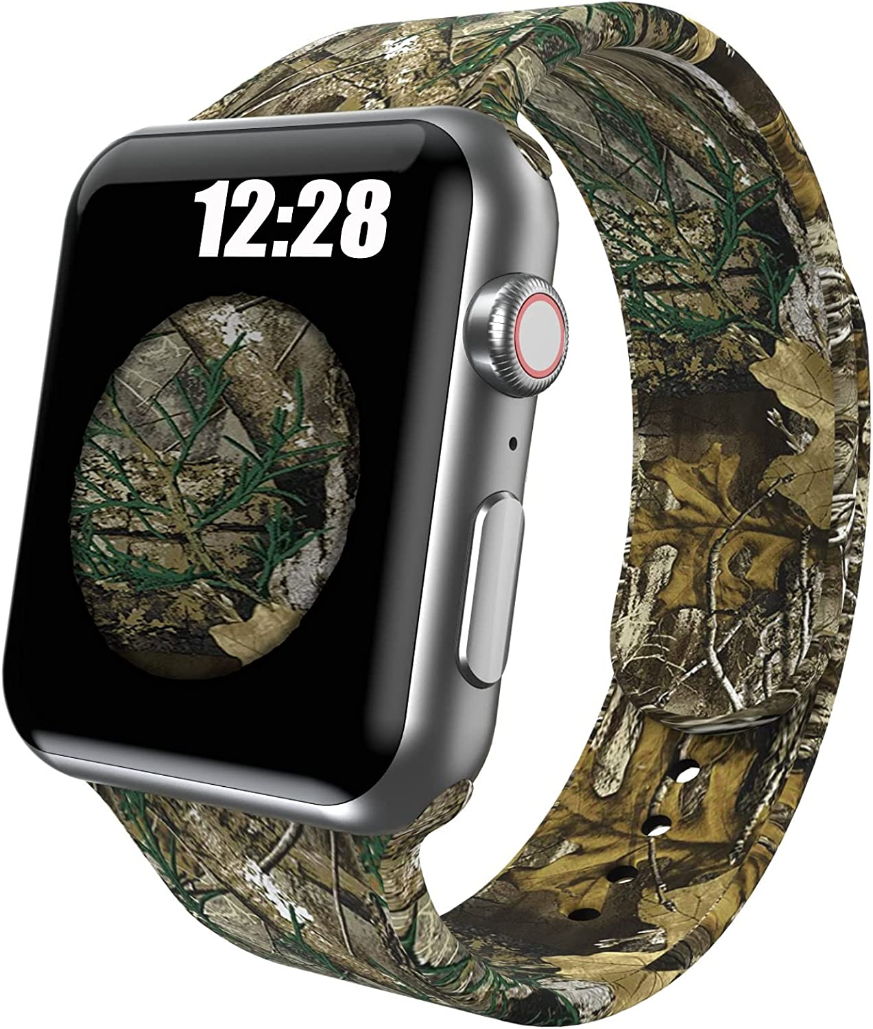 OTTARTAKS Band Compatible with Apple Watch Bands 38mm 40mm iWatch Series 6 5 SE 4 3 2 1, Silicone Realtree Camo Xtra Apple Watch Band for Men Boys