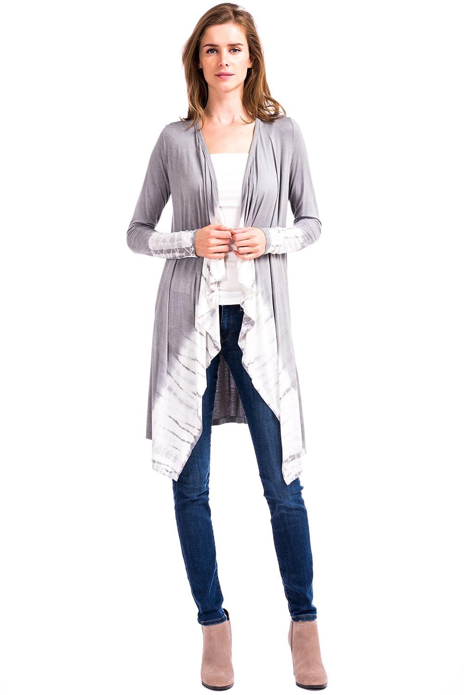 12 Ami North Tie Dye Long Sleeve Midi Cardigan - Made in USA