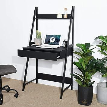 Amazon Com Black Finish Leaning Ladder Desk Bookcase Bookshelf With