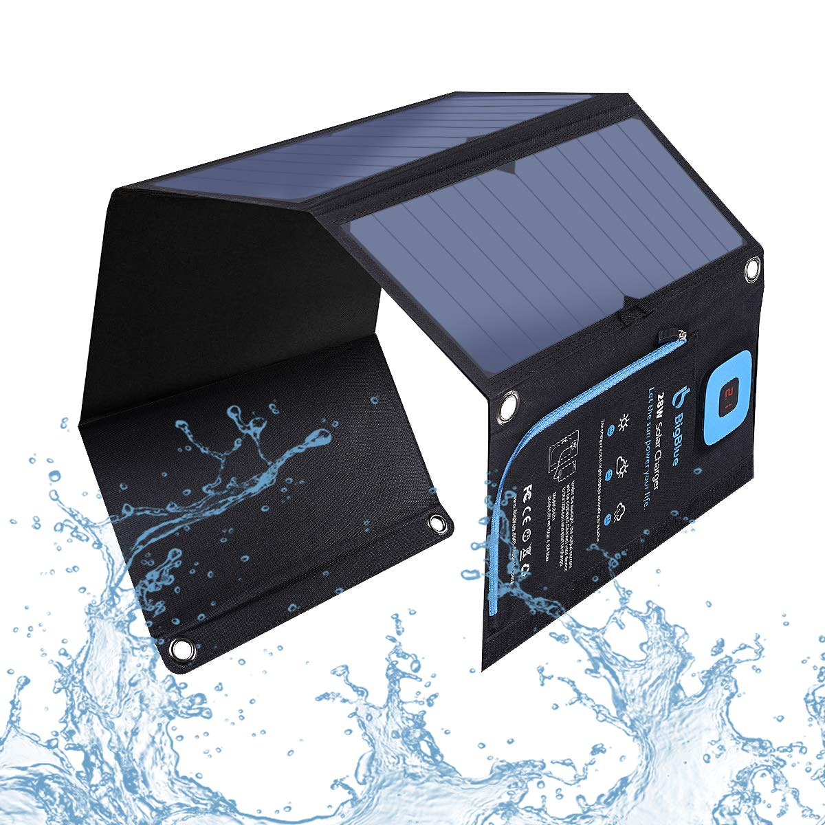 BigBlue 5V 28W Solar Charger with Digital Ammeter, Waterproof Foldable Solar Panels with Dual USB Ports Compatible with iPhone Xs/XS Max/XR/X/8/7S, ...