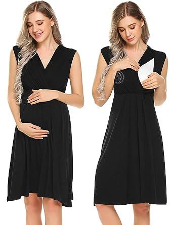 757a40f6295 Ekouaer Womens Maternity Nursing Breastfeeding Nightgowns Elastic Waist Pregnancy  Dress