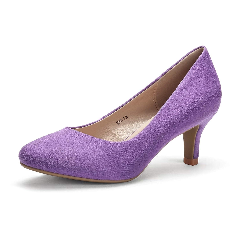 IDIFU Womens Classic Low Heels Dress Pumps 2 Inch Kitten Heel Round Toe Office Wedding Shoes
