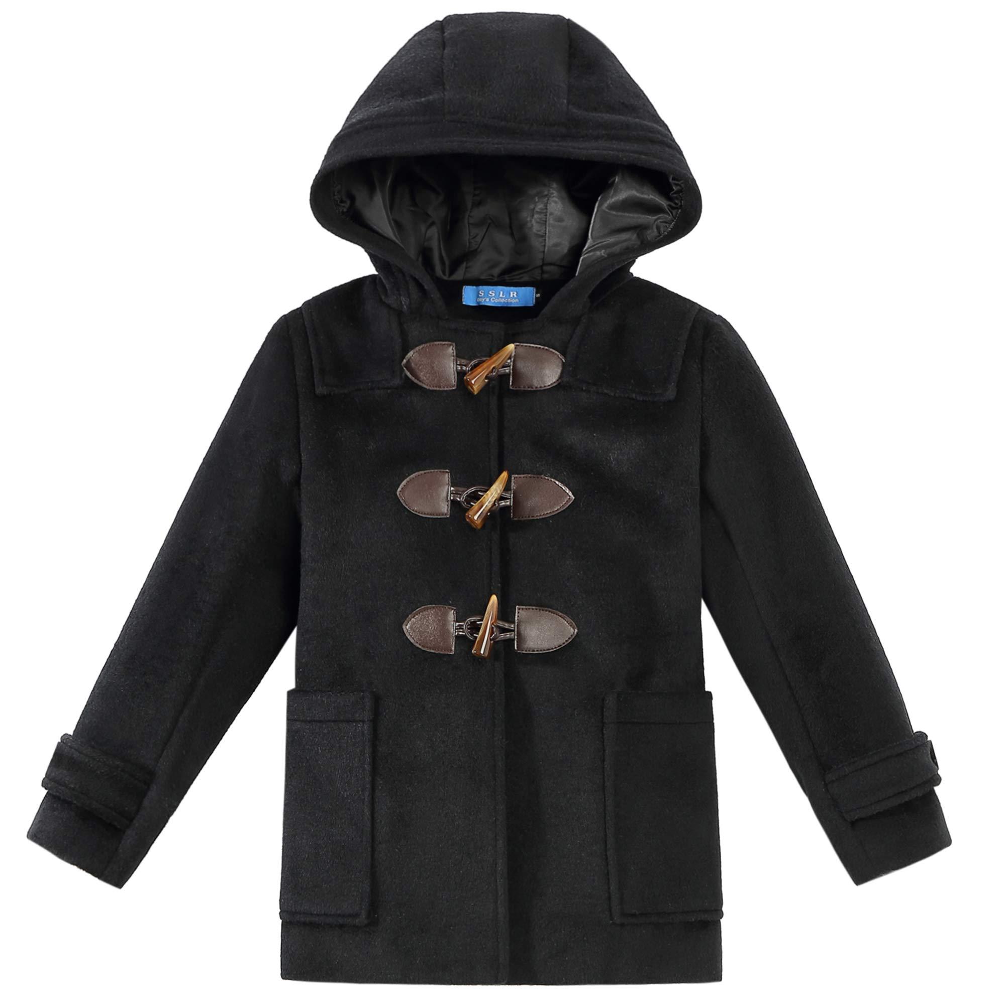 SSLR Big Boys' Winter Thermal Wool Hooded Toggle Coat (Medium(10-12), Black)