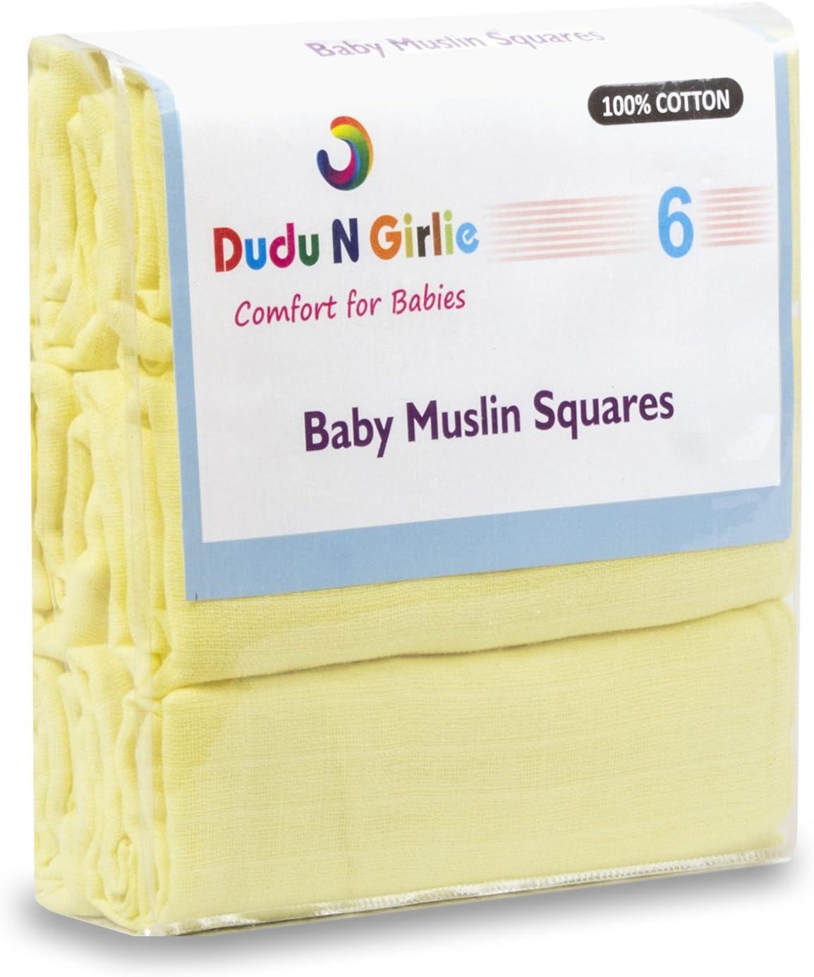 Dudu N Girlie 100/% algod/ón beb/é pa/ñuelos cuadrados de muselina color rosa 70/cm x 70/cm 6/unidades