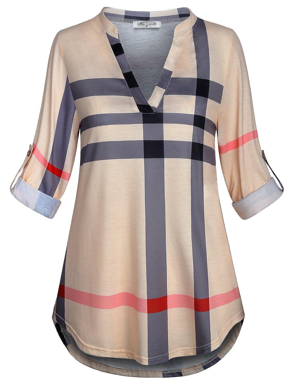 Amazon.com: Sese Code - Blusa túnica para mujer, manga 3/4 ...