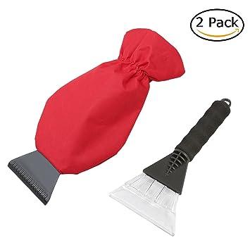 Amazon.es: YDI rascador de hielo, juego de 2 Pack con impermeable guantes y suave mango, nieve quitar rasqueta para parabrisas de coche y ventana