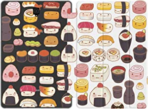 Mertak Case Compatible with Samsung Galaxy Tab S7 S6 Lite S5e S4 A7 10.4 A 10.5 10.1 2019 S3 9.7 S2 8.0 Sushi Kawaii Japanese Sashimi Design Pattern Pattern Food Print Magnetic Closure Auto Wake Sleep
