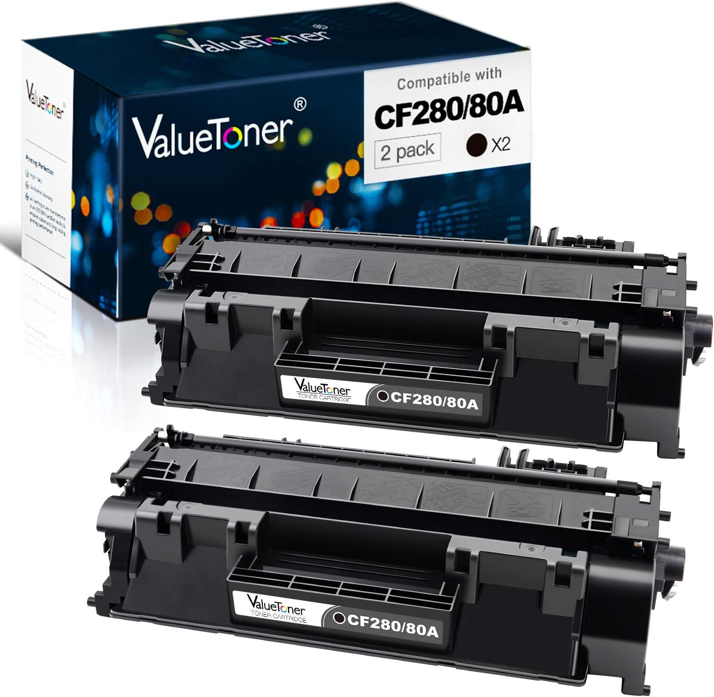 Valuetoner Compatible Toner Cartridge Replacement for HP 80A CF280A 05A CE505A to use with Laserjet Pro 400 M401n, M401dn, M401dne, MFP M425dn, M425dw,Laserjet P2055DN Printer (2 Black)