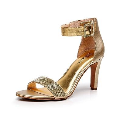 b8c7664fc6b1 DUNION Women s Amy Rhinestone Strappy Stiletto High Heel Dress Sandal Party  Prom Wedding Shoe