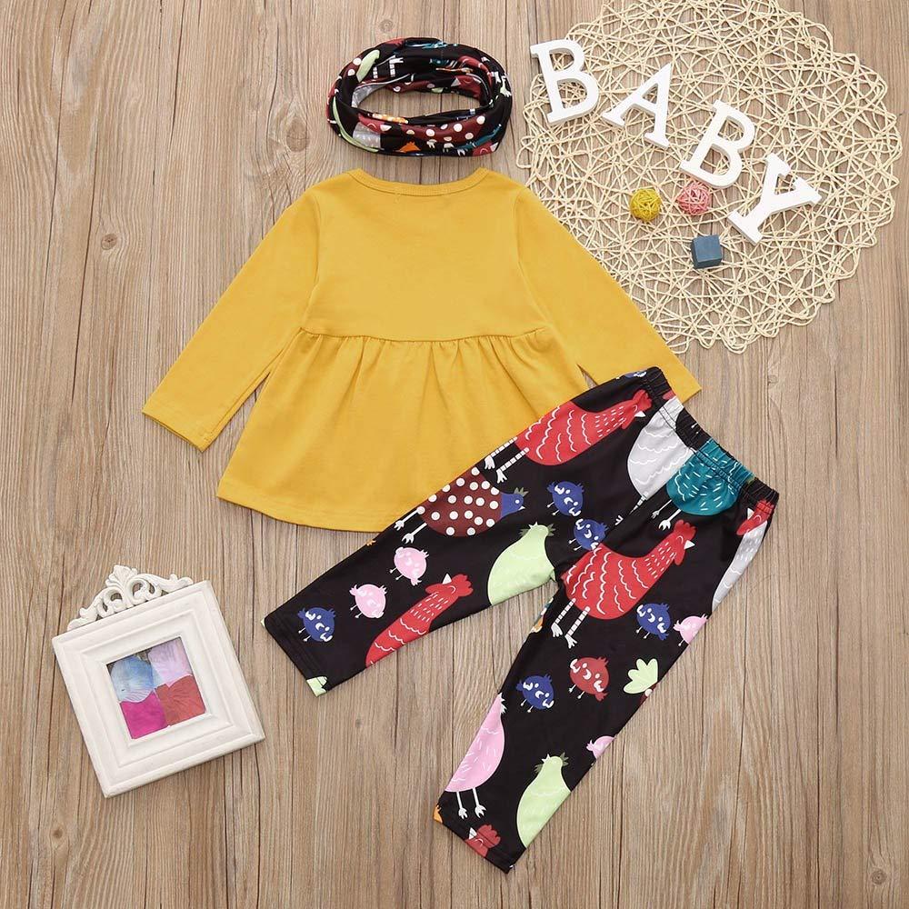 Dream Room Dresses Toddler Infant Kids Baby Girls Hen Dresses Hen Printing Pants Neck Christmas Costume Set