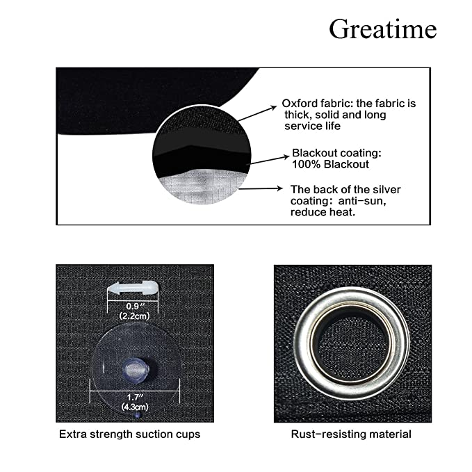 Greatime 100 Lichtundurchlässig Gardinen Mit Saugnäpfen