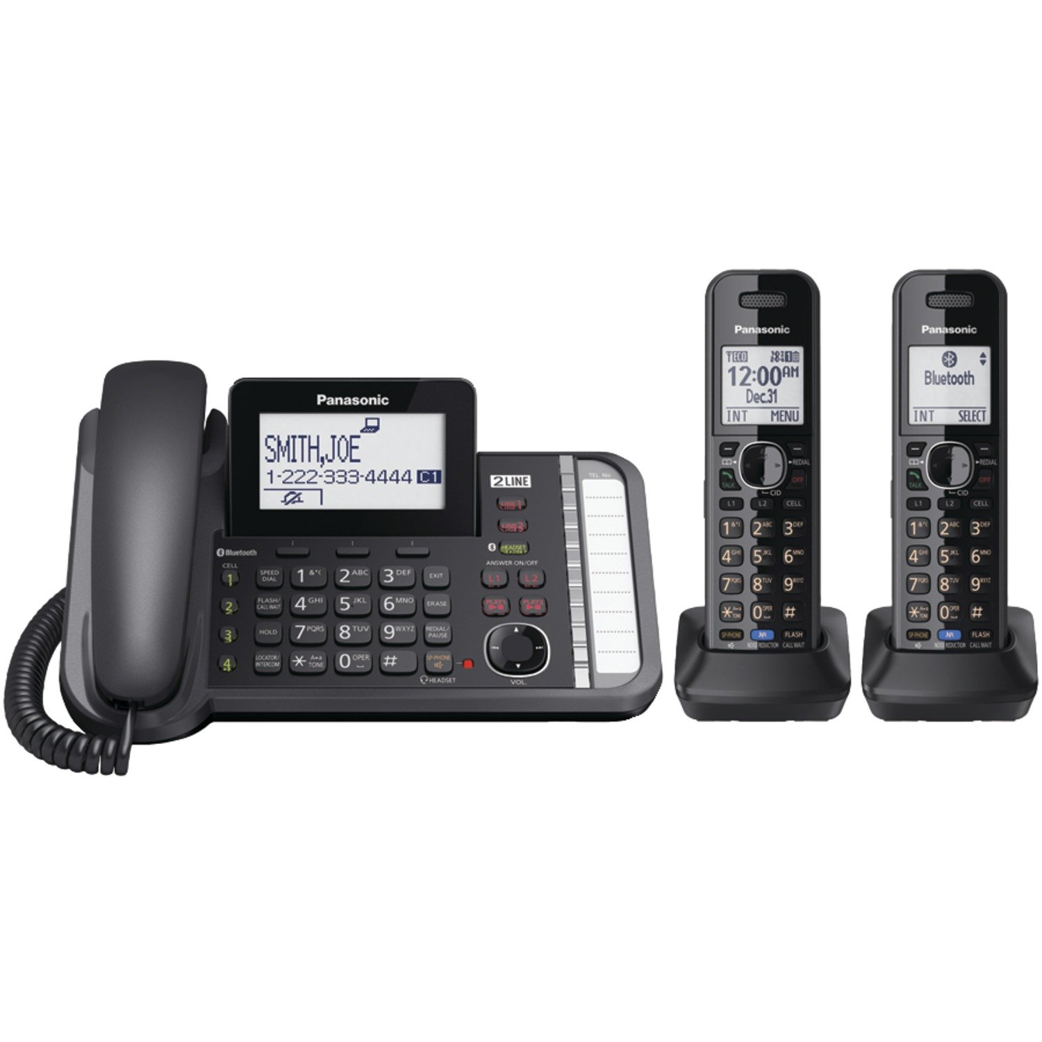 Panasonic KXTG9582B 2 -Line Corded/Cordless Expandable Link2Cell Telephone System with Two Cordless Handsets by Panasonic