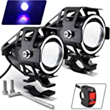 Motorcycle Headlight Cree U7 LED Fog Lights Spotlight Daytime Running Lights with Blue Angel Eyes Halo Ring and ON/Off…