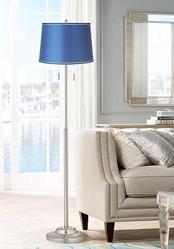 Abba Modern Floor Lamp Brushed Steel Metal Medium Blue Satin Drum Shade
