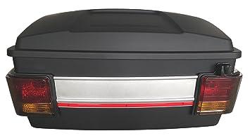 Baul rigido para moto custom de 70 litros de capacidad. Color negro mate. Capacidad