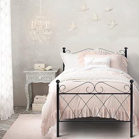 Armazón de la cama Aingoo, de metal, en color negro, metal