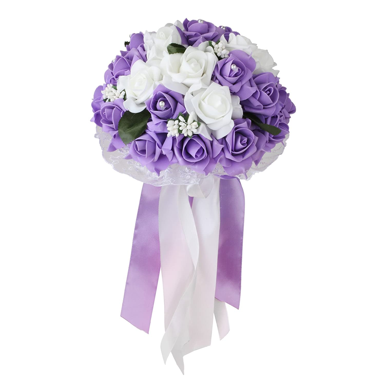 Amazon Vlovelife Wedding Bouquet White Lavender Artificial