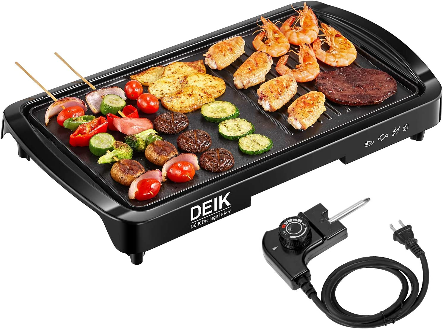 Electric Griddle, DEIK 2-in-1 Indoor Grill Smokeless Coated Non-Stick Pancake Griddle, 20 x10 Extra Large Surface with 2 Oil Collection Channel, Cold-Touch Design, 5-Level Control, 1600W