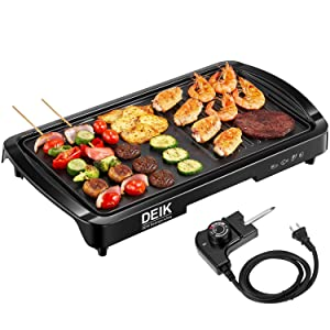 Electric Griddle, DEIK 2-in-1 Indoor Grill Smokeless Coated Non-Stick Pancake Griddle, 20''x10'' Extra Large Surface with 2 Oil Collection Channel and Removable Drip Tray, 5-Level Control, 1600W