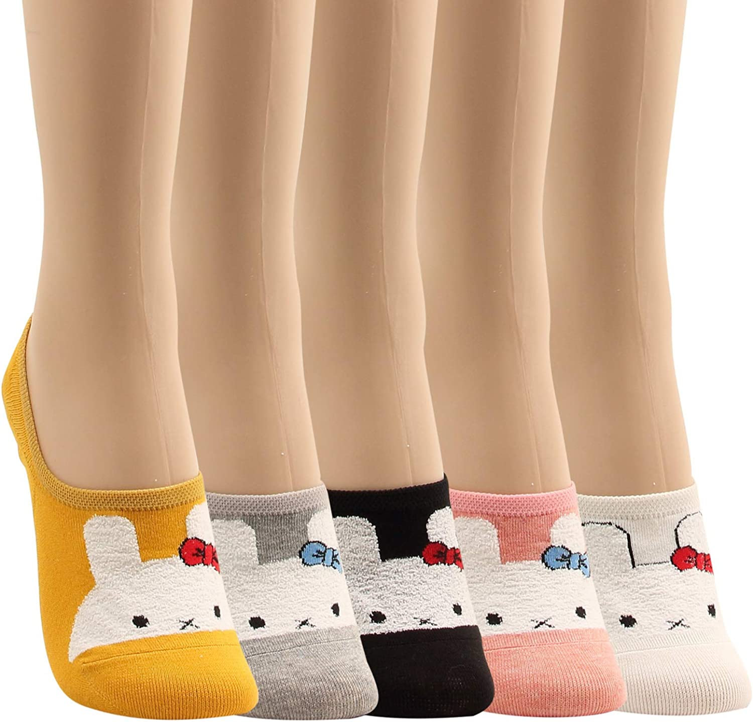 WOWFOOT Women Animal Design No-Show Casual Liner Socks Character Print Non Slip Flat Boat Line 4 Pair