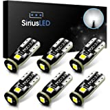 SiriusLED 3030 SMD Super Compact Extremely Bright Triple Sided 400 Lumen Auto LED Interior Light Bulbs Size 194 168 2825 Pure White Pack of 6