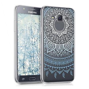 kwmobile Funda para Samsung Galaxy J5 (2015) - Carcasa de [TPU] para móvil y diseño de Sol hindú en [Azul/Blanco/Transparente]