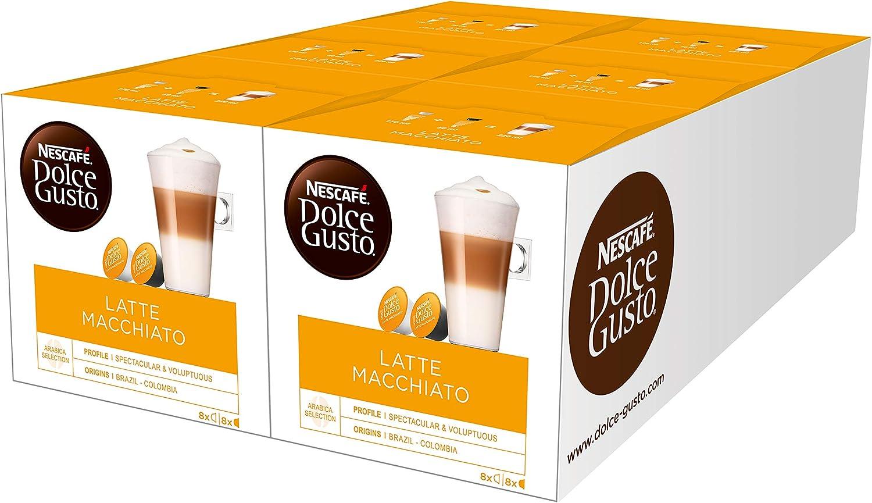 Nescafé Dolce Gusto Latte Macchiato, Paquete de 6, 6 x 16 Cápsulas ...