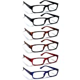 6 Pack Reading Glasses by BOOST EYEWEAR, Traditional Frames in Black, Tortoise Shell, Blue and Red, for Men and Women, with C
