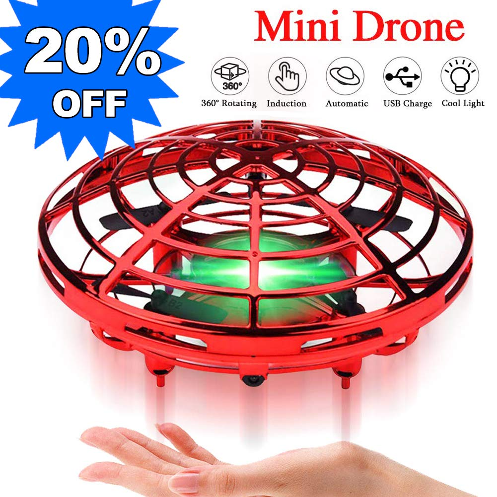 Mini Drone for Kids Beginner Hand Controlled,UFO Flying Ball Toys with 360° Rotating Hovering and LED Lights,Quadcopter Drone Toy for Kids Party Favors Indoor Outdoor,RC Helicopter Kids Birthday Gift by Camlinbo