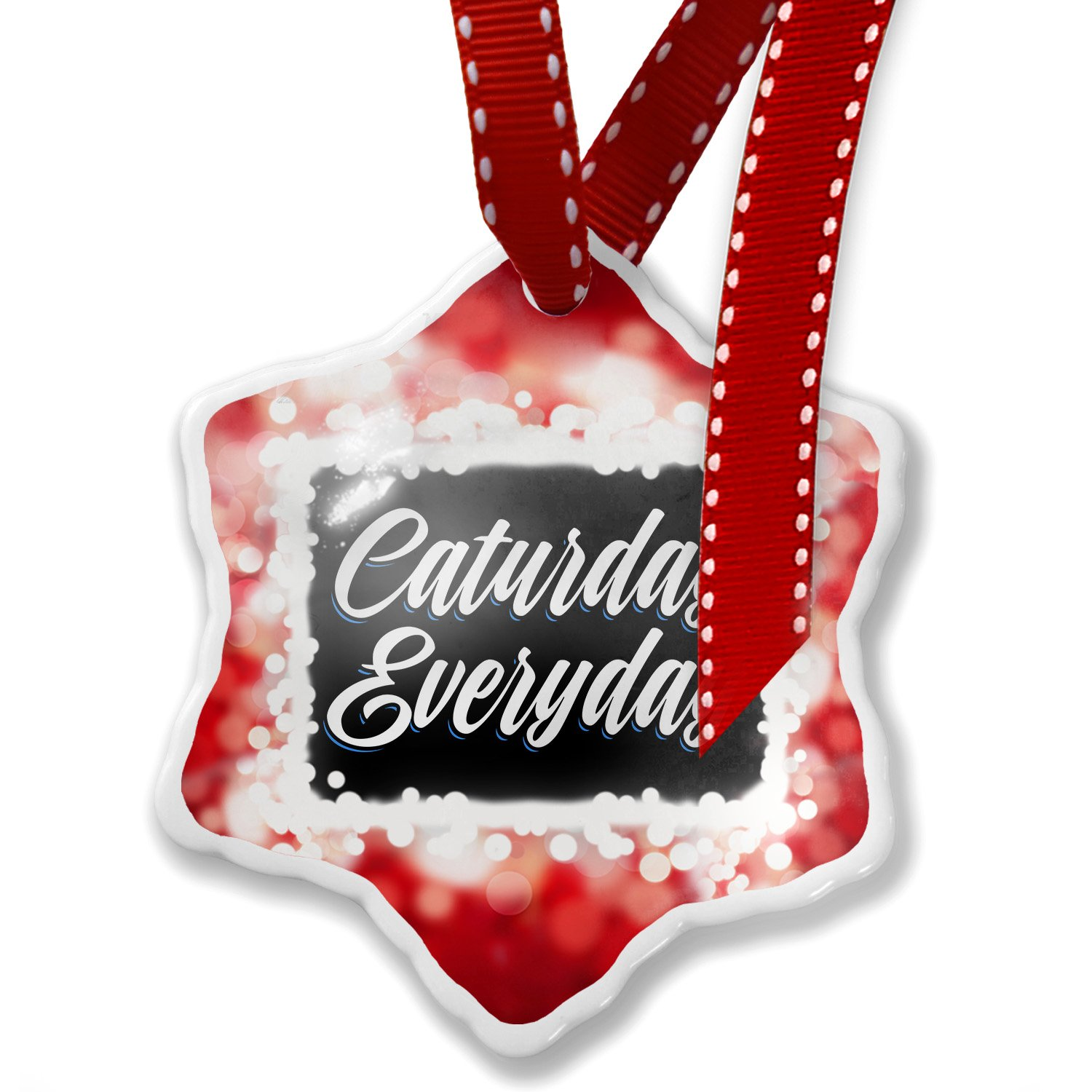 Christmas Ornament Classic design Caturday Everyday, red - Neonblond