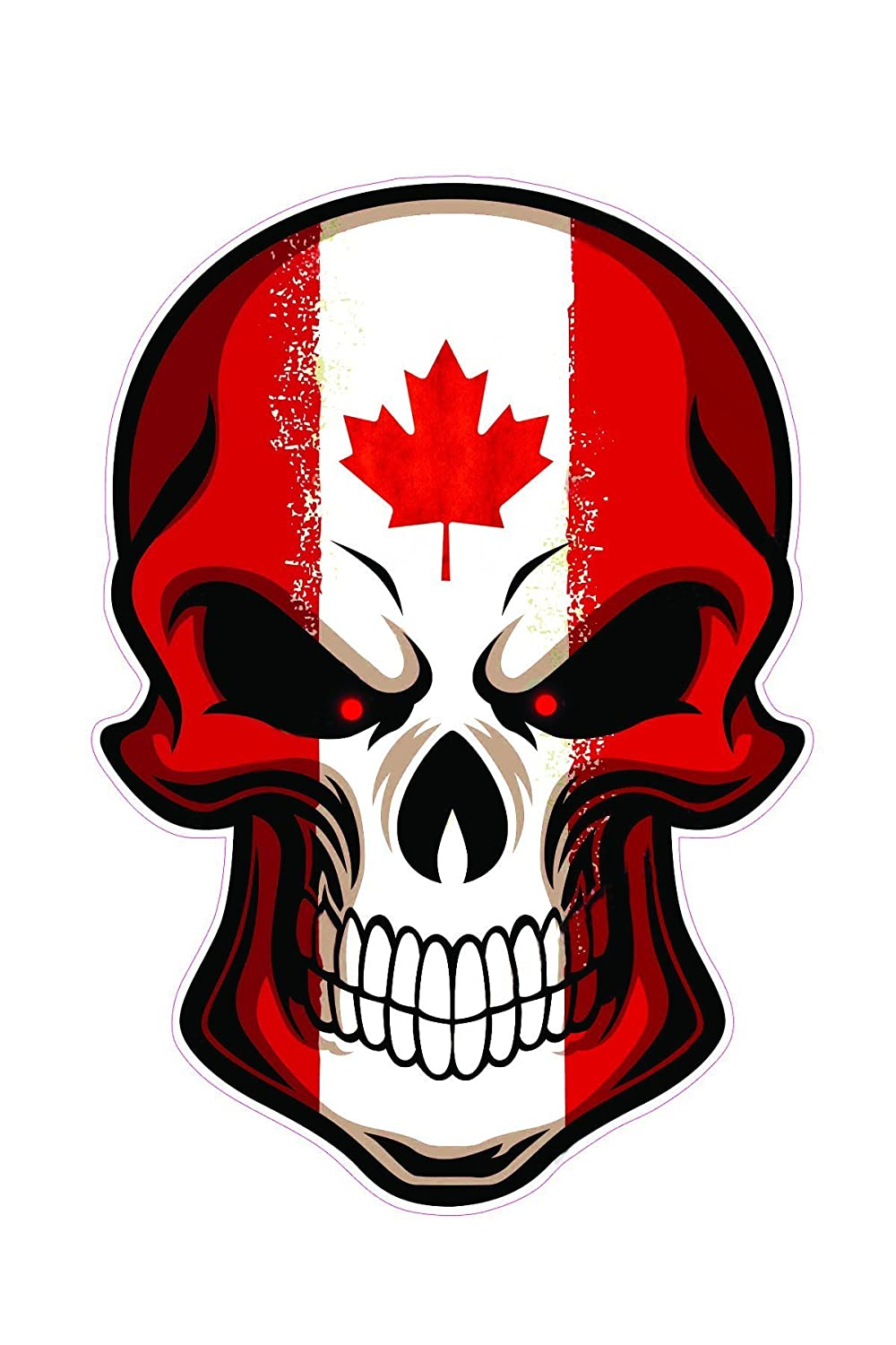 Karshop the canadian skull pack of 2 sticker 6 x 4 laptop wall indoor and out door halloween or daily use vinyl sticker removable sticker amazon ca