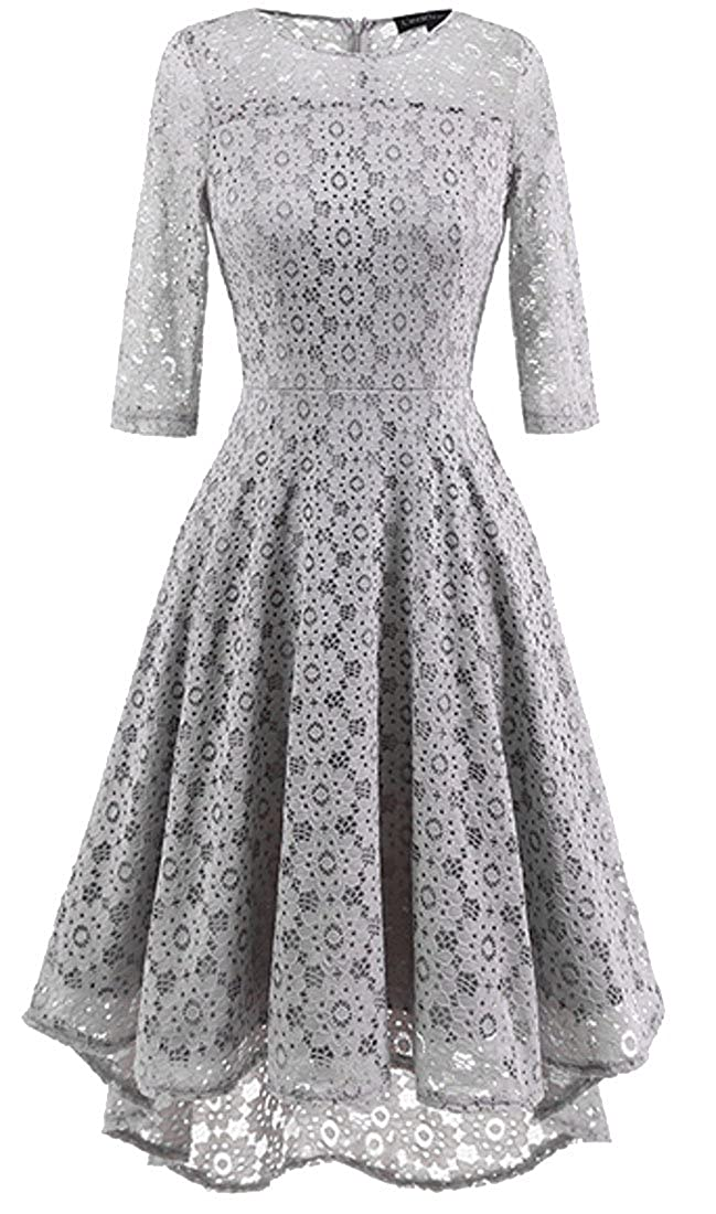 Blyent Women's Soft Pleated Retro Lace Hollow Wedding Swing Cocktail Dresses