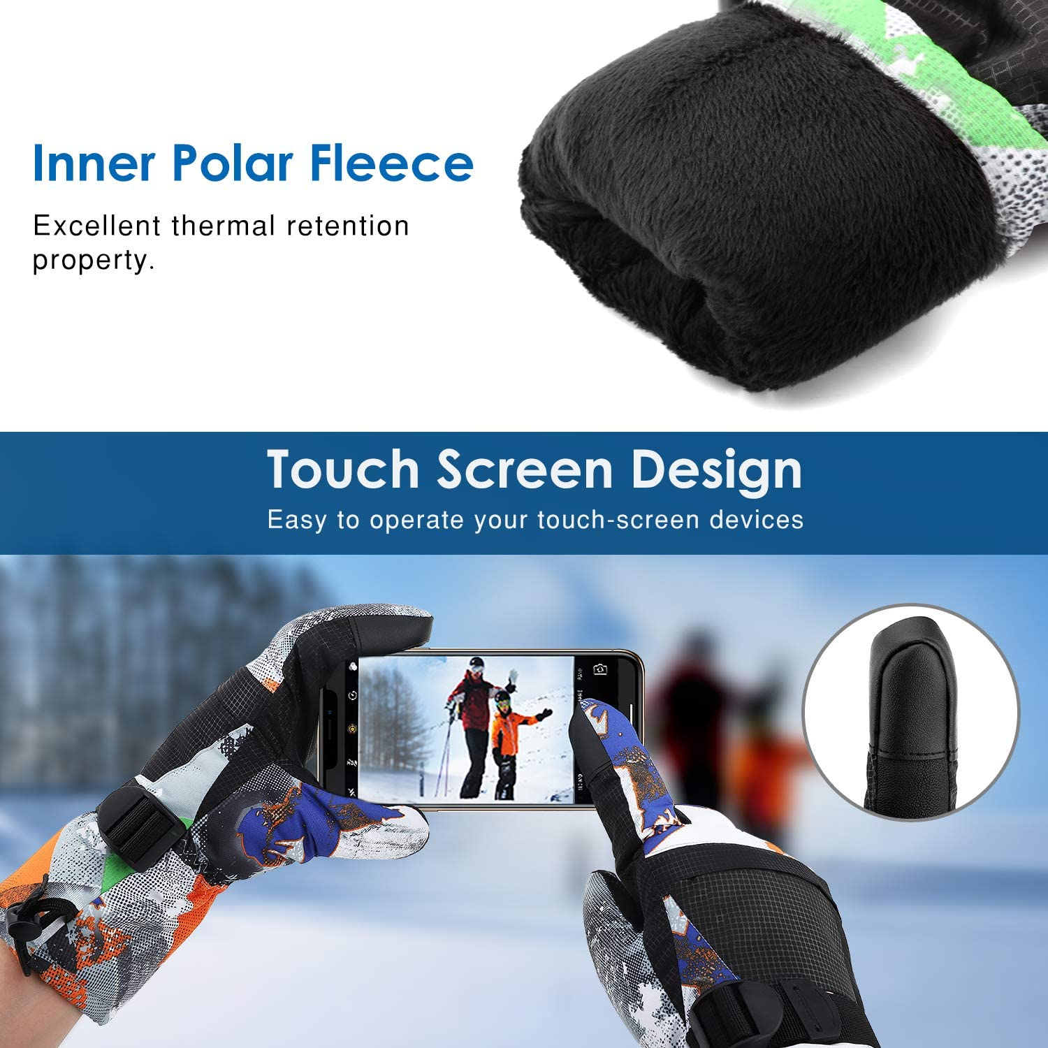 Snowboarding Outdoor Activities for Men Women Kids Skating Rhino Valley Ski Gloves Winter Windproof Thermal Warm Insulated Snow Telefingers Gloves with Zipper Pocket Fit Motorcycle Skiing
