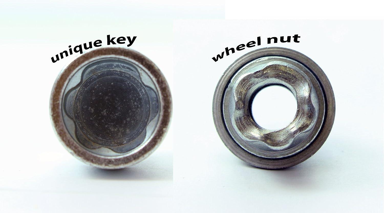 Forrd Fushion Models 2003 To 2020 Heyner Germany StillBull Locking Wheel Nuts Removal Key M12x1.5 Set 4 Locks Alloys Antitheft Protection Bolts T2-FHO//B