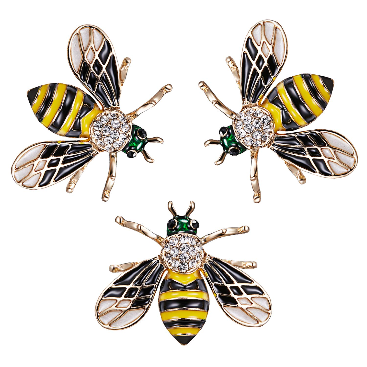 RINHOO FRIENDSHIP Cute Honeybee Animal Insect Brooches Pin Colorful Crystal Rhinestones Bee Shape Corsages Scarf Clips Jewelry For Women Girls (3PCS honeybee-black)