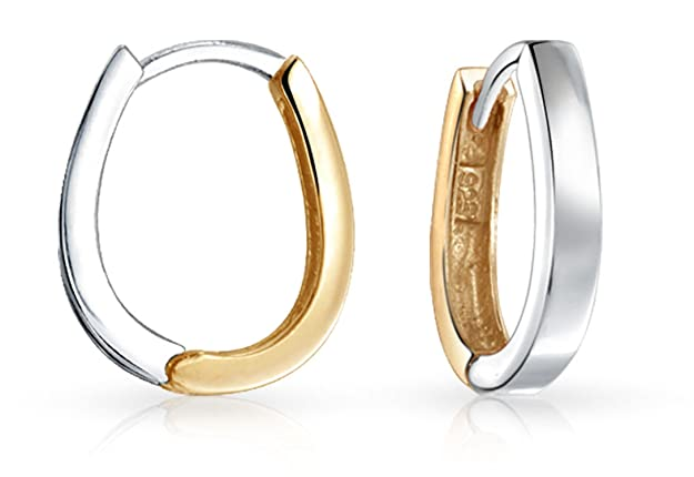 Two Tone Small Oval Huggie Earrings for Women High Polish 14K Gold Plates 925 Sterling Silver