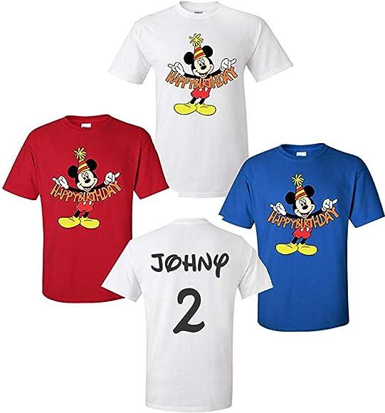 Amazon.com: Feliz cumpleaños Mickey Mouse Disney camisetas ...