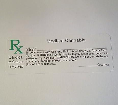 Colorado co compliant marijuana labels 1000 pcs rx cannabis sticker identifier 420
