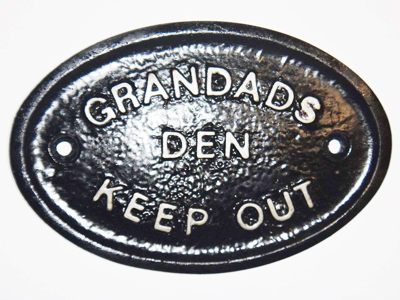 "GARDEN SHED//GARAGE WALL PLAQUE WALL SIGN SILVER /""GRANDADS GARDEN/"" BRAND NEW"