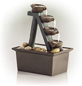 """Alpine Corporation 8"""" Tall Indoor or Outdoor 4-Tier Step Tabletop Fountain with Rustic Bowls, Beige, WCT324"""
