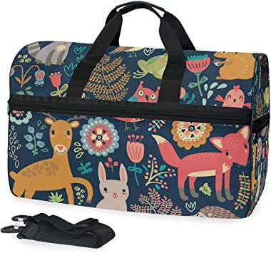 TFONE Forest Animal Cute Fox Rabbit Bird Duffel Bag Sports Gym Weekend Bags with Shoe Compartmen