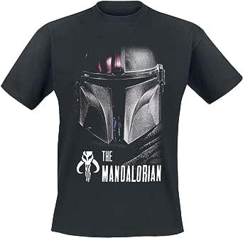 Star Wars The Mandalorian - Dark Warrior Hombre Camiseta Negro, Regular