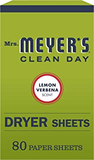 product image for Mrs. Meyer's Clean Day Dryer Sheets, Softens Fabric, Reduces Static, Cruelty Free Formula, Lemon Verbena Scent, 80 Count