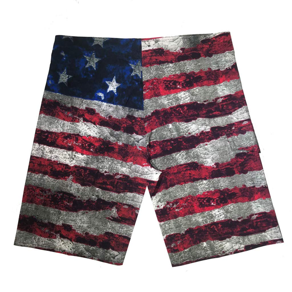 Mens Swim Trunks Quicksilver Board Shorts American Flag Beachwear Bathing Suit Swimming Beach Shorts Pants