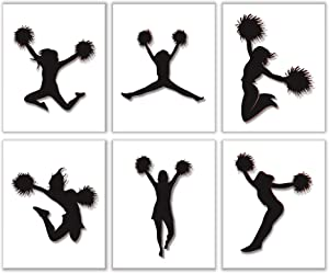 """Wall Decor for Girls Bedroom - Dancing Teen Cheerleader with Poms - 8"""" x 10"""" Size (Set of 6) Unframed Artwork Photo Prints 