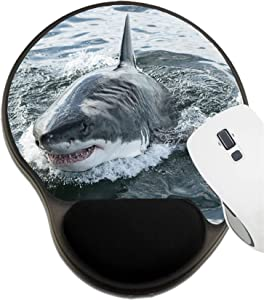 MSD Mousepad Wrist Rest Protected Mouse Pads, Mat with Wrist Support, Image ID: 32729223 Endangered Great White Shark Breaching The Water in The Ocean